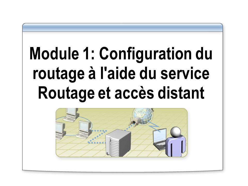 Vue d ensemble Présentation multimédia : Rôle du routage dans l infrastructure réseau Activation et configuration du service Routage et accès distant Configuration des filtres de paquets