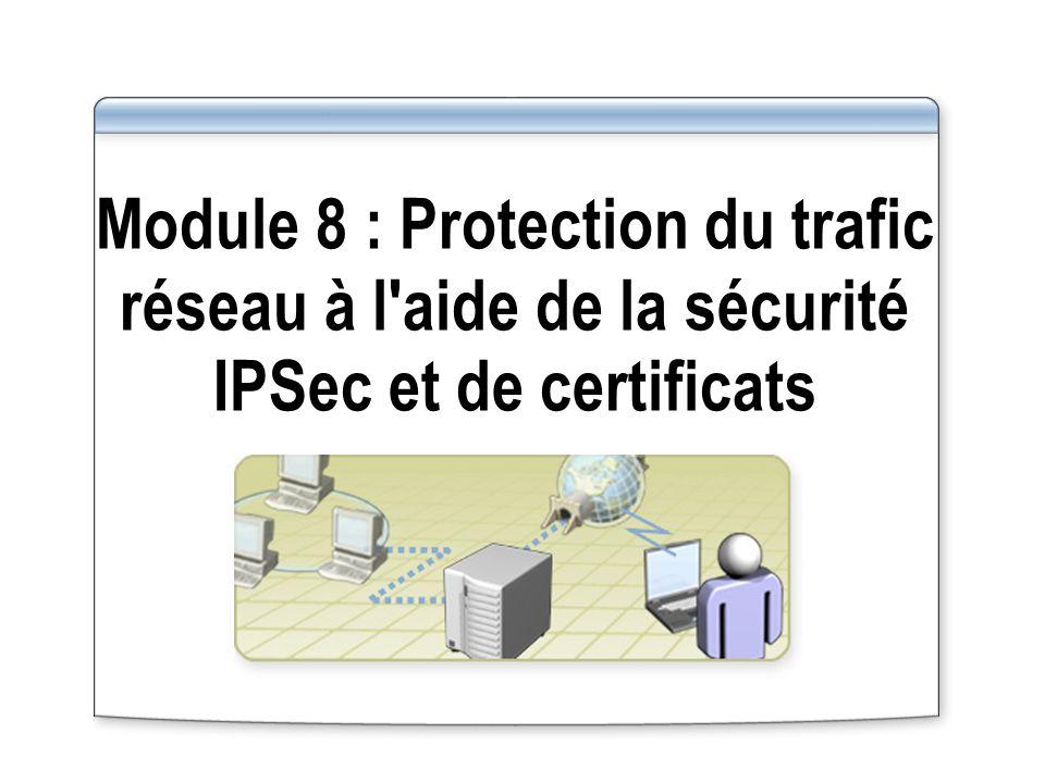Module 8 : Protection du trafic réseau à l aide de la sécurité IPSec et de certificats