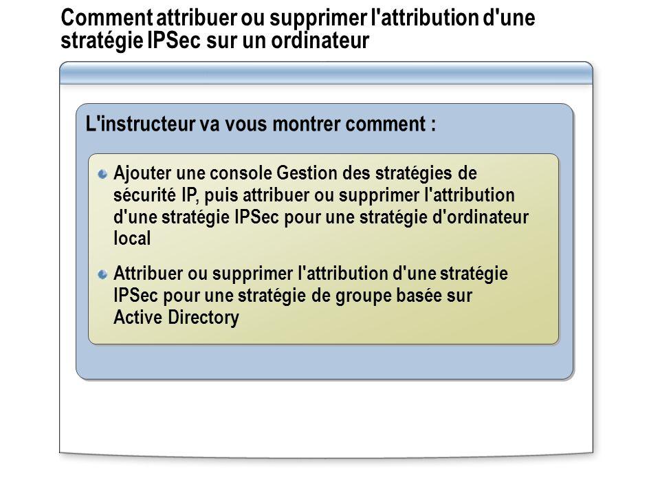 Comment attribuer ou supprimer l attribution d une stratégie IPSec sur un ordinateur L instructeur va vous montrer comment : Ajouter une console Gestion des stratégies de sécurité IP, puis attribuer ou supprimer l attribution d une stratégie IPSec pour une stratégie d ordinateur local Attribuer ou supprimer l attribution d une stratégie IPSec pour une stratégie de groupe basée sur Active Directory Ajouter une console Gestion des stratégies de sécurité IP, puis attribuer ou supprimer l attribution d une stratégie IPSec pour une stratégie d ordinateur local Attribuer ou supprimer l attribution d une stratégie IPSec pour une stratégie de groupe basée sur Active Directory