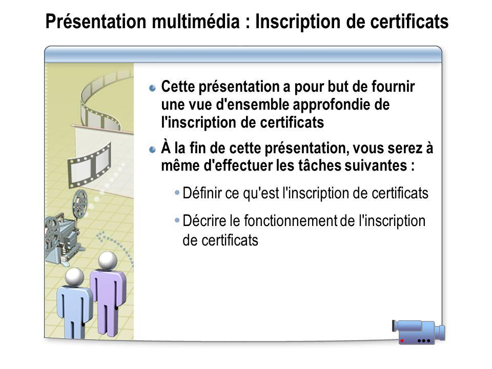 Présentation multimédia : Inscription de certificats Cette présentation a pour but de fournir une vue d ensemble approfondie de l inscription de certificats À la fin de cette présentation, vous serez à même d effectuer les tâches suivantes : Définir ce qu est l inscription de certificats Décrire le fonctionnement de l inscription de certificats