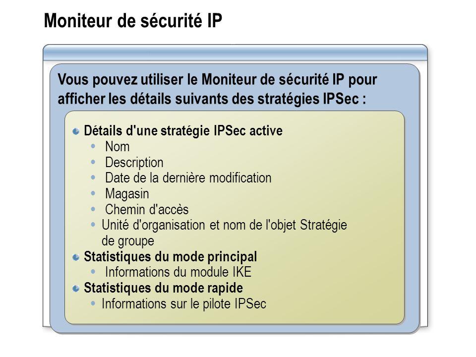 Moniteur de sécurité IP Vous pouvez utiliser le Moniteur de sécurité IP pour afficher les détails suivants des stratégies IPSec : Détails d une stratégie IPSec active Nom Description Date de la dernière modification Magasin Chemin d accès Unité d organisation et nom de l objet Stratégie de groupe Statistiques du mode principal Informations du module IKE Statistiques du mode rapide Informations sur le pilote IPSec Détails d une stratégie IPSec active Nom Description Date de la dernière modification Magasin Chemin d accès Unité d organisation et nom de l objet Stratégie de groupe Statistiques du mode principal Informations du module IKE Statistiques du mode rapide Informations sur le pilote IPSec
