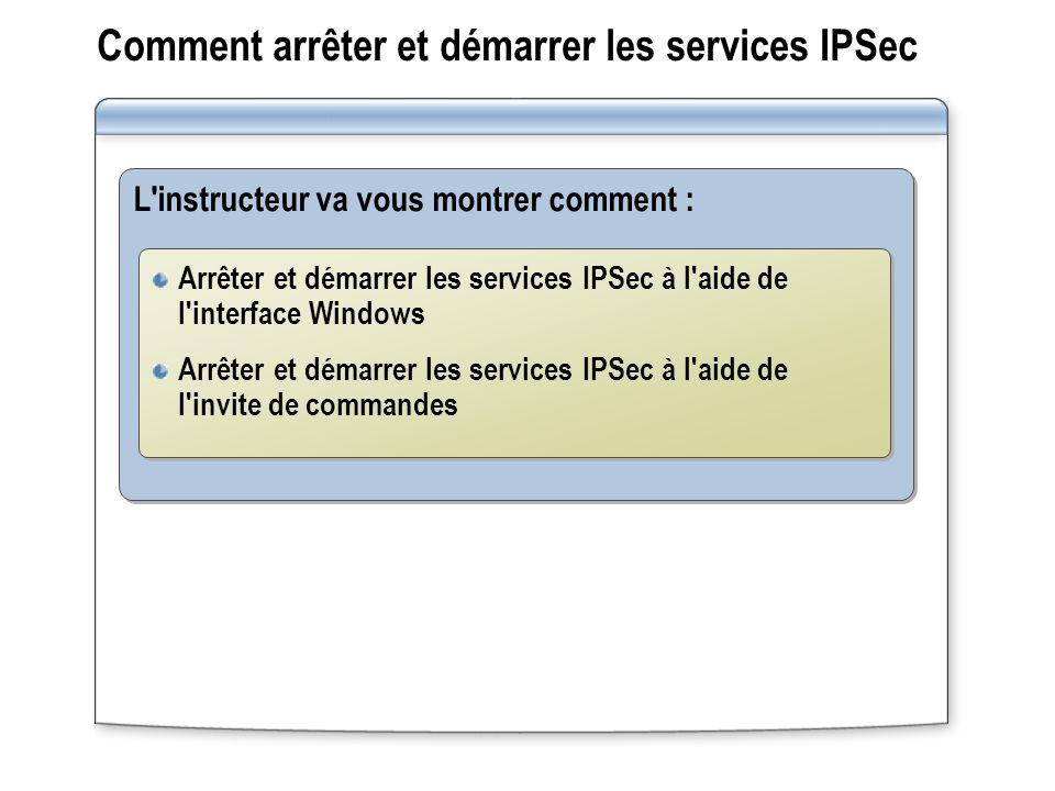 Comment arrêter et démarrer les services IPSec L instructeur va vous montrer comment : Arrêter et démarrer les services IPSec à l aide de l interface Windows Arrêter et démarrer les services IPSec à l aide de l invite de commandes Arrêter et démarrer les services IPSec à l aide de l interface Windows Arrêter et démarrer les services IPSec à l aide de l invite de commandes