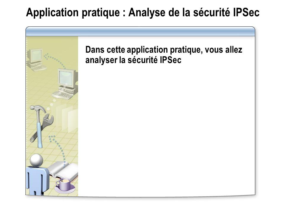 Application pratique : Analyse de la sécurité IPSec Dans cette application pratique, vous allez analyser la sécurité IPSec