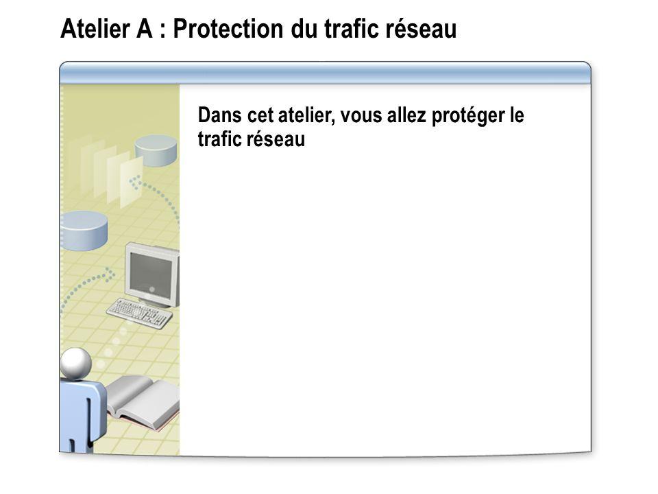 Atelier A : Protection du trafic réseau Dans cet atelier, vous allez protéger le trafic réseau