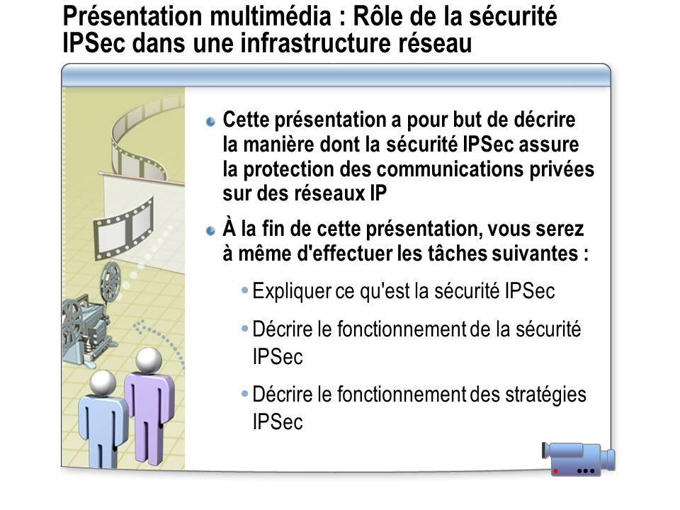 Présentation multimédia : Rôle de la sécurité IPSec dans une infrastructure réseau Cette présentation a pour but de décrire la manière dont la sécurité IPSec assure la protection des communications privées sur des réseaux IP À la fin de cette présentation, vous serez à même d effectuer les tâches suivantes : Expliquer ce qu est la sécurité IPSec Décrire le fonctionnement de la sécurité IPSec Décrire le fonctionnement des stratégies IPSec