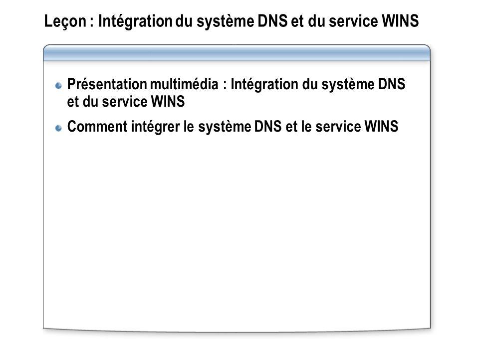 Leçon : Intégration du système DNS et du service WINS Présentation multimédia : Intégration du système DNS et du service WINS Comment intégrer le système DNS et le service WINS