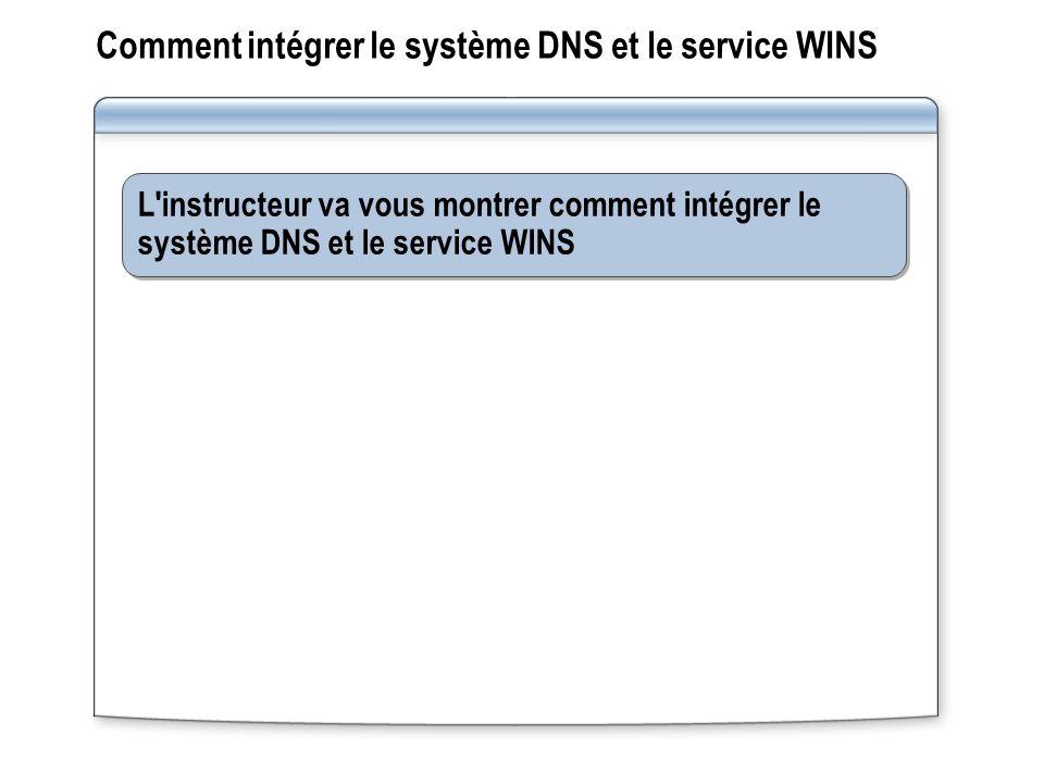 Comment intégrer le système DNS et le service WINS L instructeur va vous montrer comment intégrer le système DNS et le service WINS