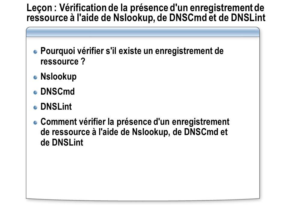 Leçon : Vérification de la présence d un enregistrement de ressource à l aide de Nslookup, de DNSCmd et de DNSLint Pourquoi vérifier s il existe un enregistrement de ressource .