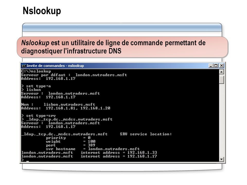 Nslookup Nslookup est un utilitaire de ligne de commande permettant de diagnostiquer l infrastructure DNS