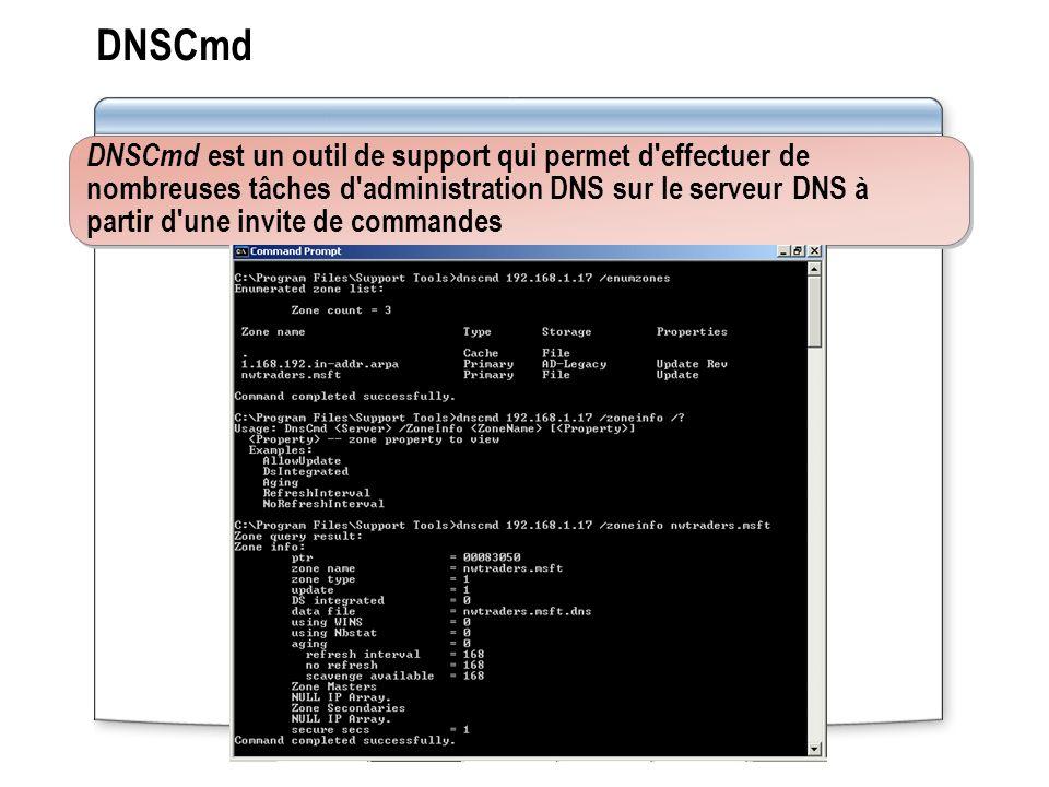 DNSCmd DNSCmd est un outil de support qui permet d effectuer de nombreuses tâches d administration DNS sur le serveur DNS à partir d une invite de commandes