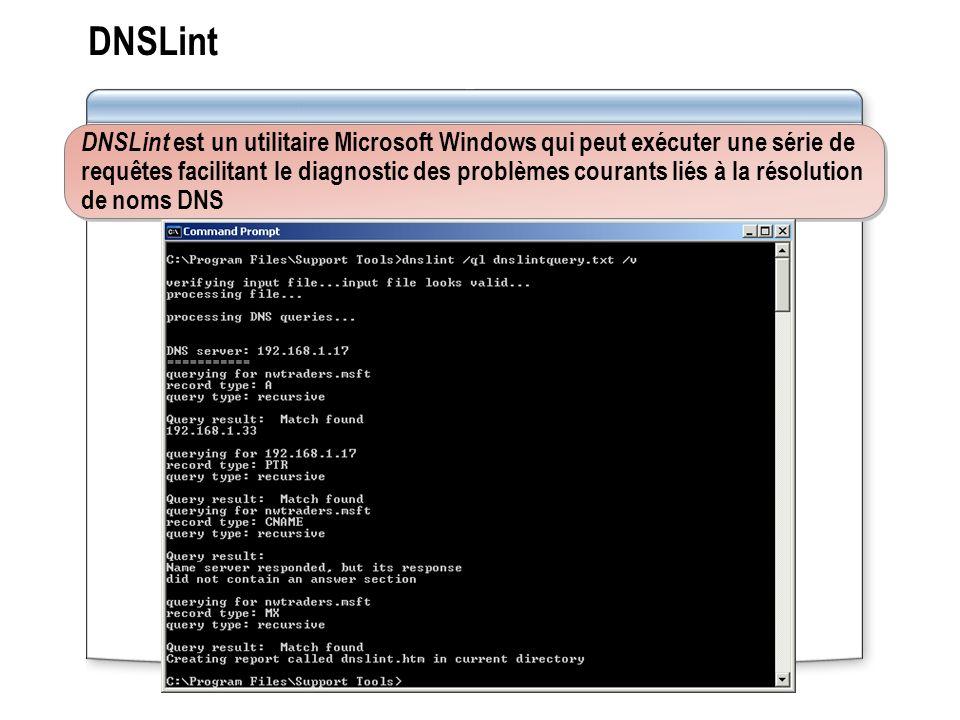 DNSLint DNSLint est un utilitaire Microsoft Windows qui peut exécuter une série de requêtes facilitant le diagnostic des problèmes courants liés à la résolution de noms DNS