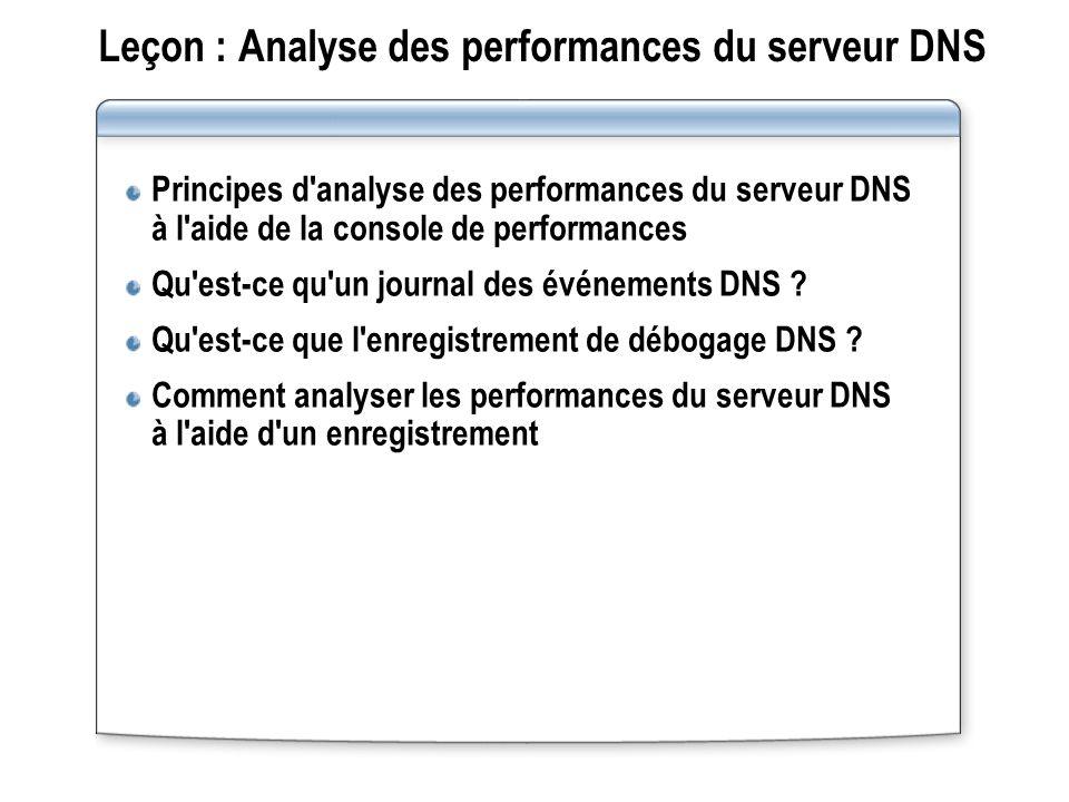 Leçon : Analyse des performances du serveur DNS Principes d analyse des performances du serveur DNS à l aide de la console de performances Qu est-ce qu un journal des événements DNS .