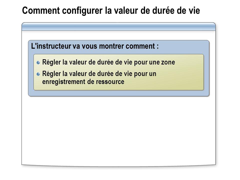 Comment configurer la valeur de durée de vie L instructeur va vous montrer comment : Régler la valeur de durée de vie pour une zone Régler la valeur de durée de vie pour un enregistrement de ressource Régler la valeur de durée de vie pour une zone Régler la valeur de durée de vie pour un enregistrement de ressource