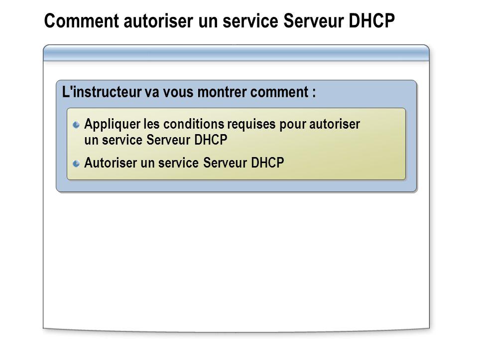 Comment autoriser un service Serveur DHCP L'instructeur va vous montrer comment : Appliquer les conditions requises pour autoriser un service Serveur