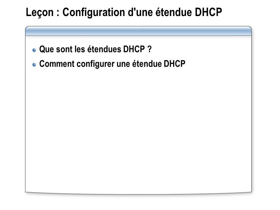 Leçon : Configuration d'une étendue DHCP Que sont les étendues DHCP ? Comment configurer une étendue DHCP
