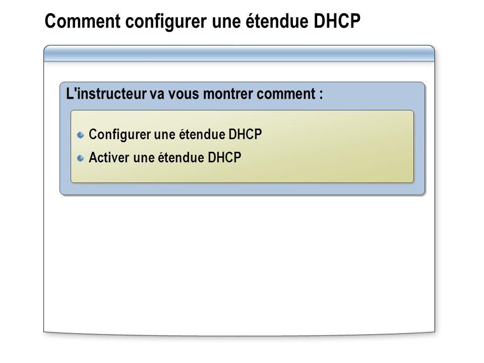 Comment configurer une étendue DHCP L'instructeur va vous montrer comment : Configurer une étendue DHCP Activer une étendue DHCP Configurer une étendu