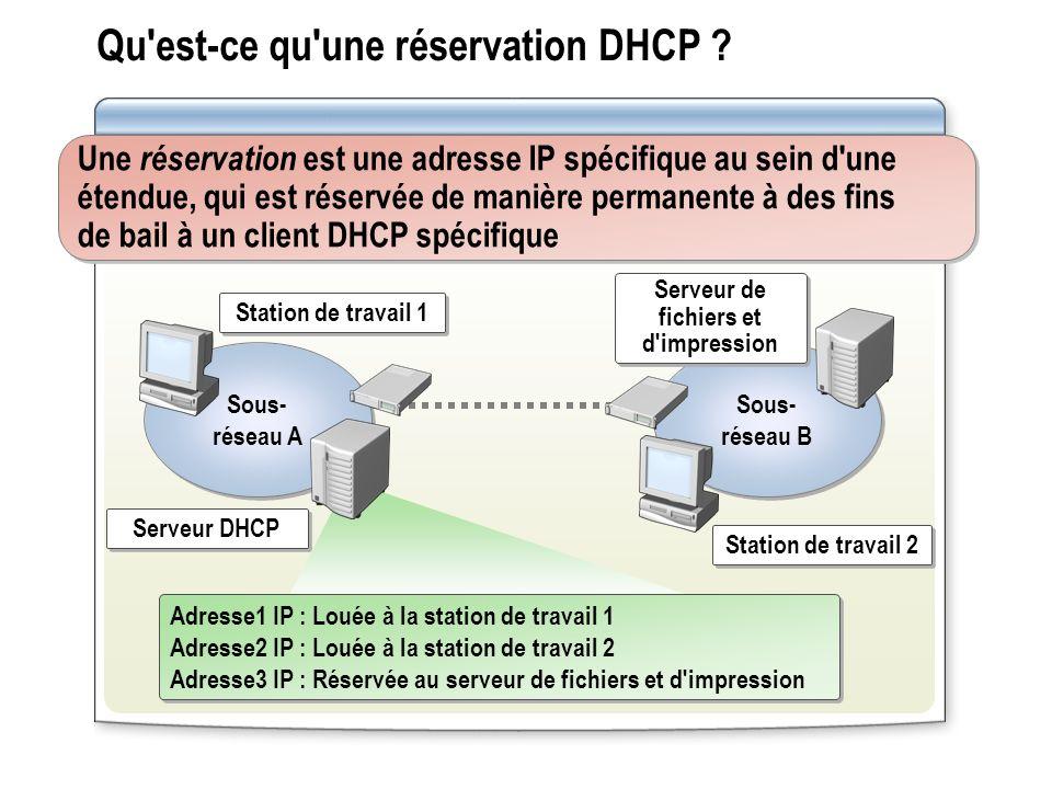 Qu'est-ce qu'une réservation DHCP ? Une réservation est une adresse IP spécifique au sein d'une étendue, qui est réservée de manière permanente à des