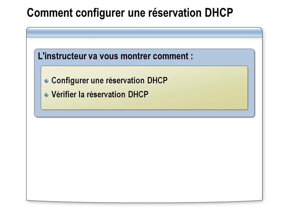Comment configurer une réservation DHCP L'instructeur va vous montrer comment : Configurer une réservation DHCP Vérifier la réservation DHCP Configure