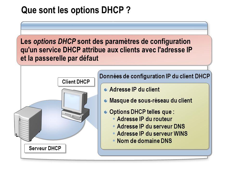 Que sont les options DHCP ? Les options DHCP sont des paramètres de configuration qu'un service DHCP attribue aux clients avec l'adresse IP et la pass