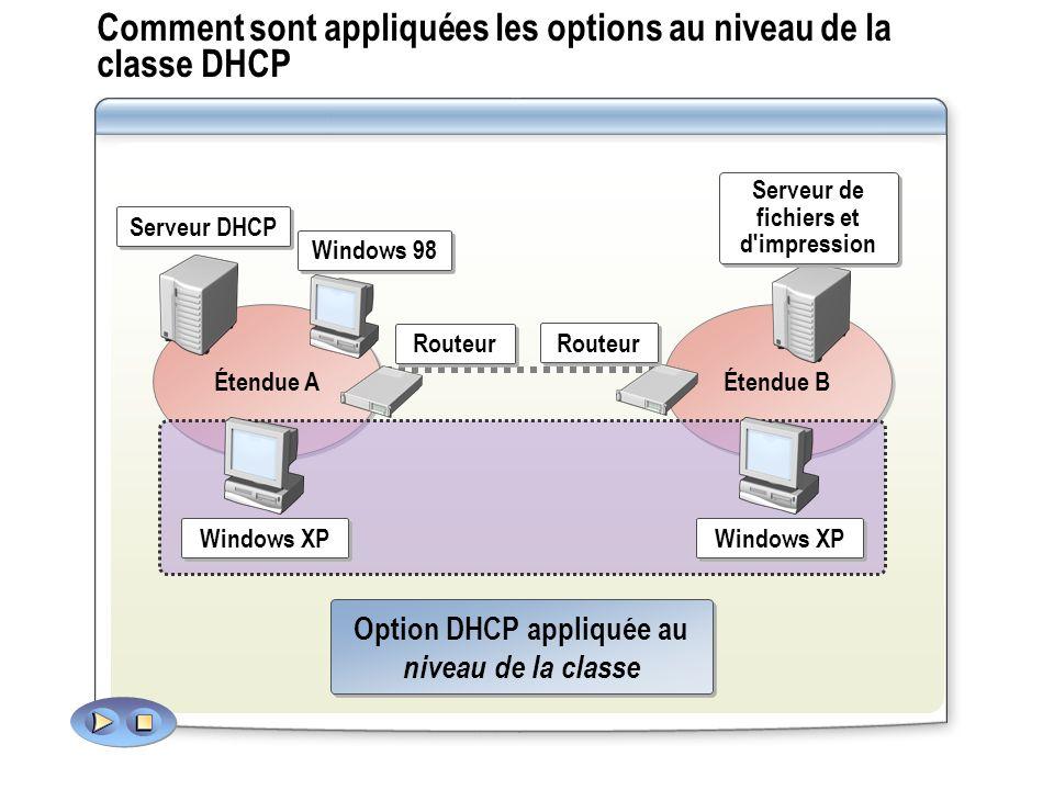 Comment sont appliquées les options au niveau de la classe DHCP Option DHCP appliquée au niveau de la classe Option DHCP appliquée au niveau de la cla