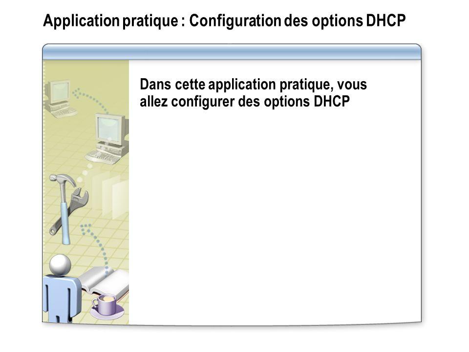 Application pratique : Configuration des options DHCP Dans cette application pratique, vous allez configurer des options DHCP