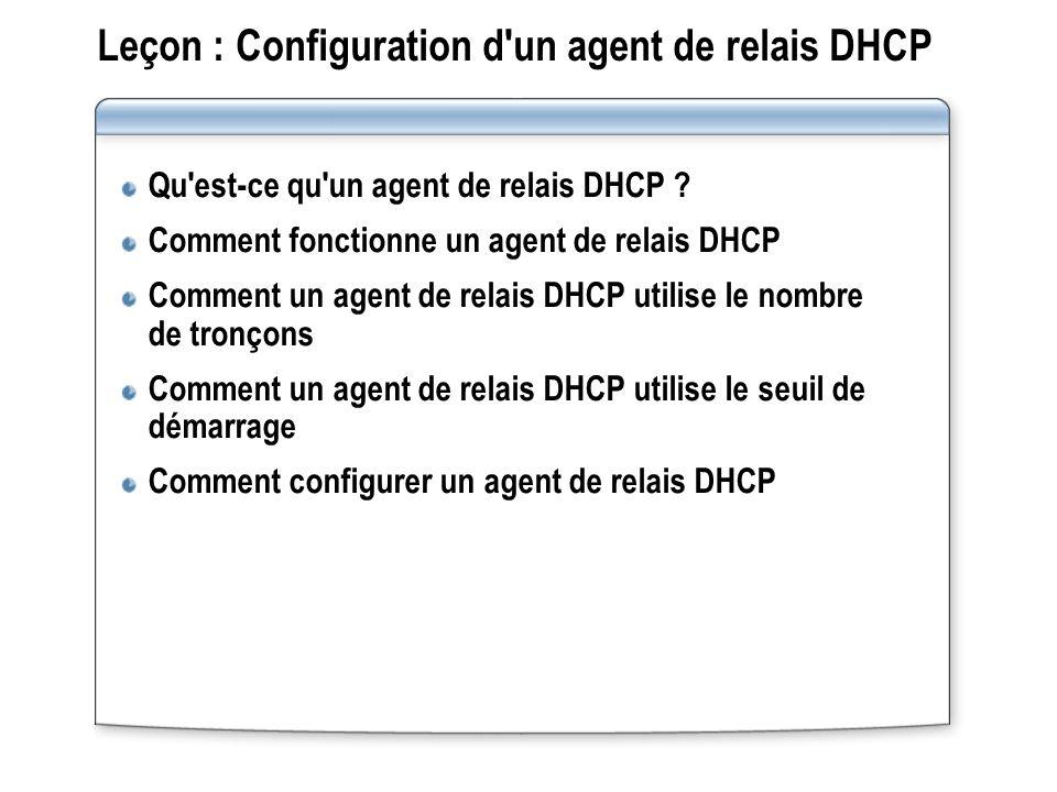Leçon : Configuration d'un agent de relais DHCP Qu'est-ce qu'un agent de relais DHCP ? Comment fonctionne un agent de relais DHCP Comment un agent de