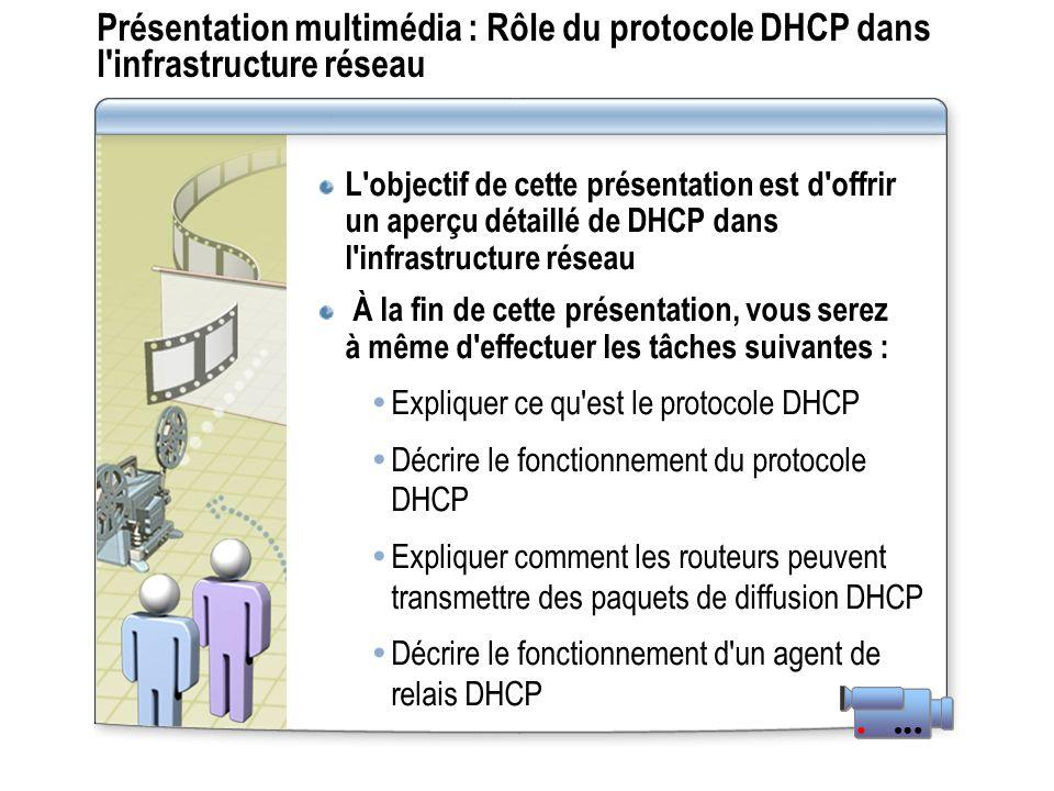 Présentation multimédia : Rôle du protocole DHCP dans l'infrastructure réseau L'objectif de cette présentation est d'offrir un aperçu détaillé de DHCP