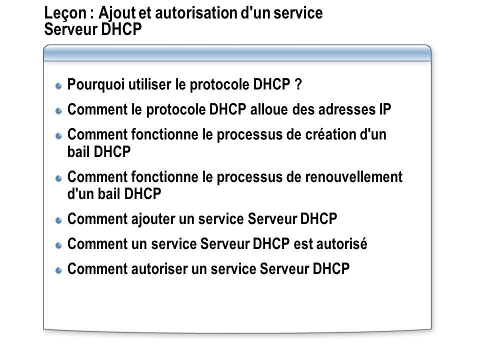 Leçon : Ajout et autorisation d'un service Serveur DHCP Pourquoi utiliser le protocole DHCP ? Comment le protocole DHCP alloue des adresses IP Comment