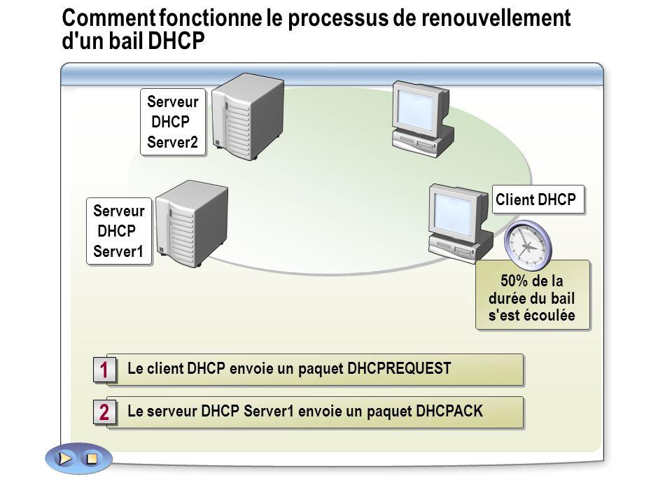 Comment fonctionne le processus de renouvellement d'un bail DHCP Le serveur DHCP Server1 envoie un paquet DHCPACK 2 2 Le client DHCP envoie un paquet