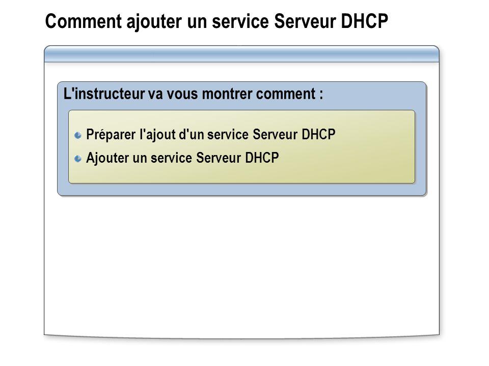 Comment ajouter un service Serveur DHCP L'instructeur va vous montrer comment : Préparer l'ajout d'un service Serveur DHCP Ajouter un service Serveur
