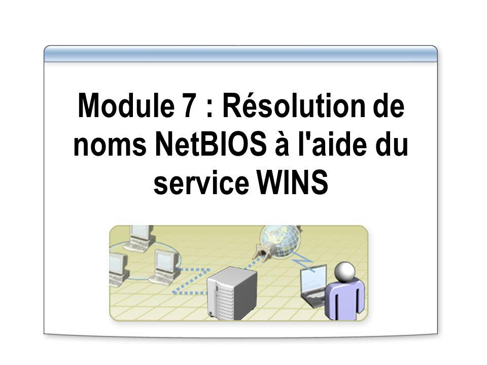 Fonctionnement de la réplication par émission Sous-réseau 2 Sous-réseau 1 Serveur WINS A Serveur WINS B 50 modifications se produisent dans la base de données 1 1 Notification envoyée 2 2 Requête de réplication 3 3 Réplicas envoyés 4 4 Sous-réseau 2 Sous-réseau 1 Serveur WINS A Serveur WINS B Un partenaire émetteur avertit ses partenaires de réplication lorsque la base de données atteint le seuil des modifications défini La réplication par émission maintient un haut niveau de synchronisation/utilisation avec des liaisons rapides Un partenaire émetteur avertit ses partenaires de réplication lorsque la base de données atteint le seuil des modifications défini La réplication par émission maintient un haut niveau de synchronisation/utilisation avec des liaisons rapides Le serveur WINS A atteint un seuil défini de 50 modifications dans sa base de données 1 1 Le serveur WINS A avertit le serveur WINS B que le seuil est atteint 2 2 Le serveur WINS B envoie au serveur WINS A une requête de réplication 3 3 Le serveur WINS A envoie des réplicas de ses nouvelles entrées de base de données 4 4