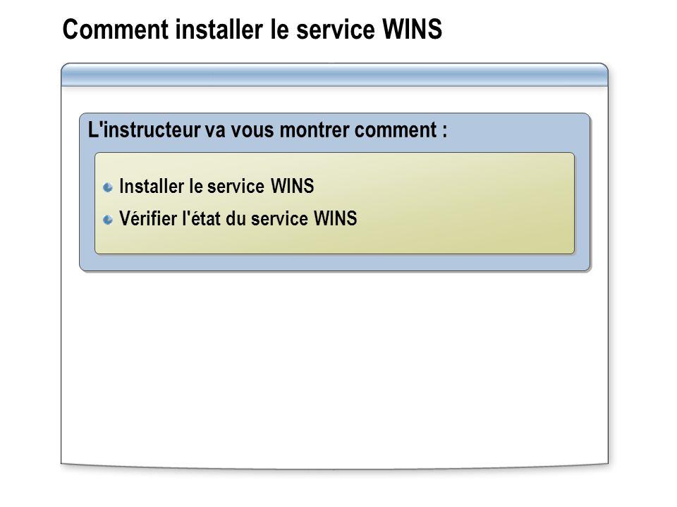 Comment installer le service WINS L'instructeur va vous montrer comment : Installer le service WINS Vérifier l'état du service WINS Installer le servi