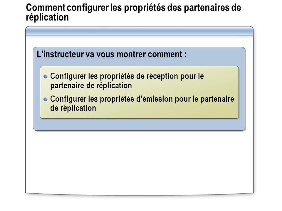 Comment configurer les propriétés des partenaires de réplication L'instructeur va vous montrer comment : Configurer les propriétés de réception pour l
