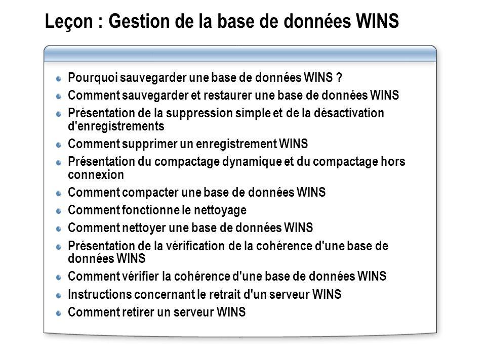 Leçon : Gestion de la base de données WINS Pourquoi sauvegarder une base de données WINS ? Comment sauvegarder et restaurer une base de données WINS P