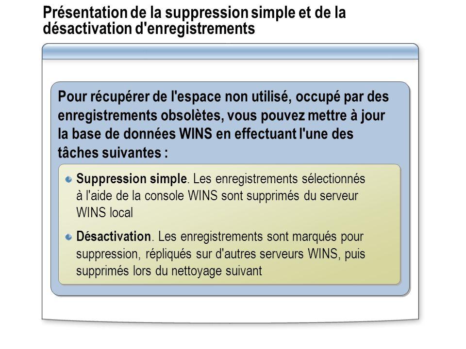 Présentation de la suppression simple et de la désactivation d'enregistrements Pour récupérer de l'espace non utilisé, occupé par des enregistrements