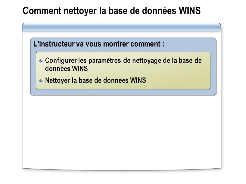 Comment nettoyer la base de données WINS L'instructeur va vous montrer comment : Configurer les paramètres de nettoyage de la base de données WINS Net