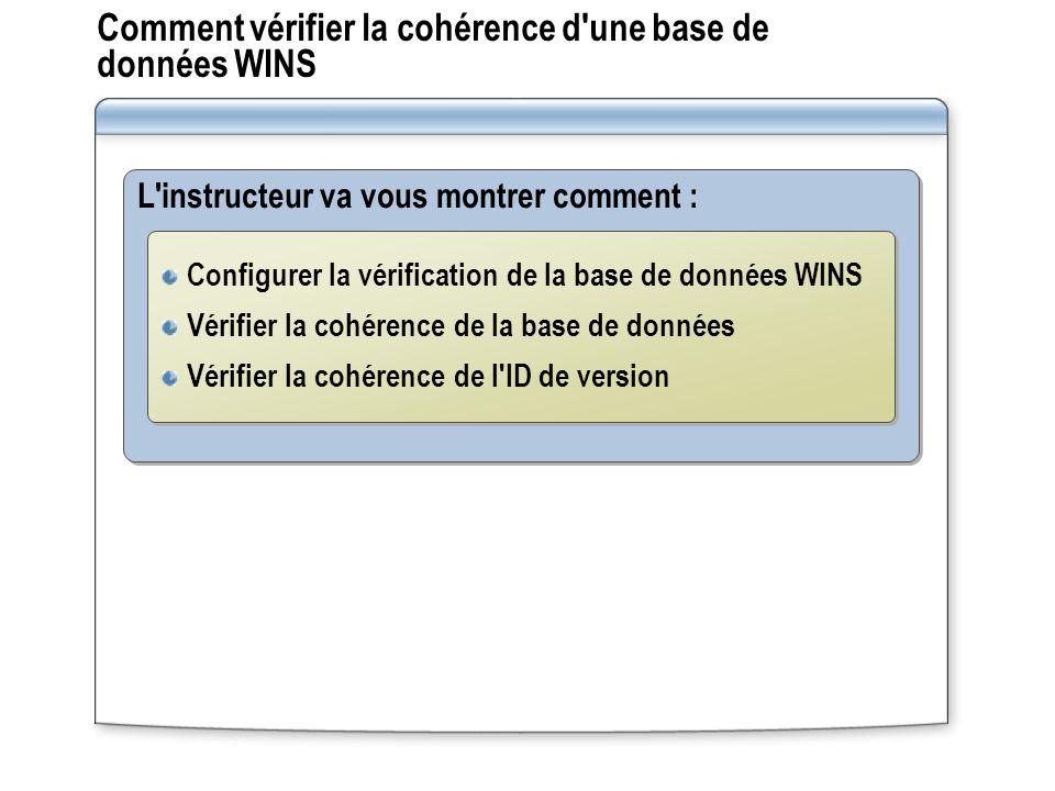 Comment vérifier la cohérence d'une base de données WINS L'instructeur va vous montrer comment : Configurer la vérification de la base de données WINS