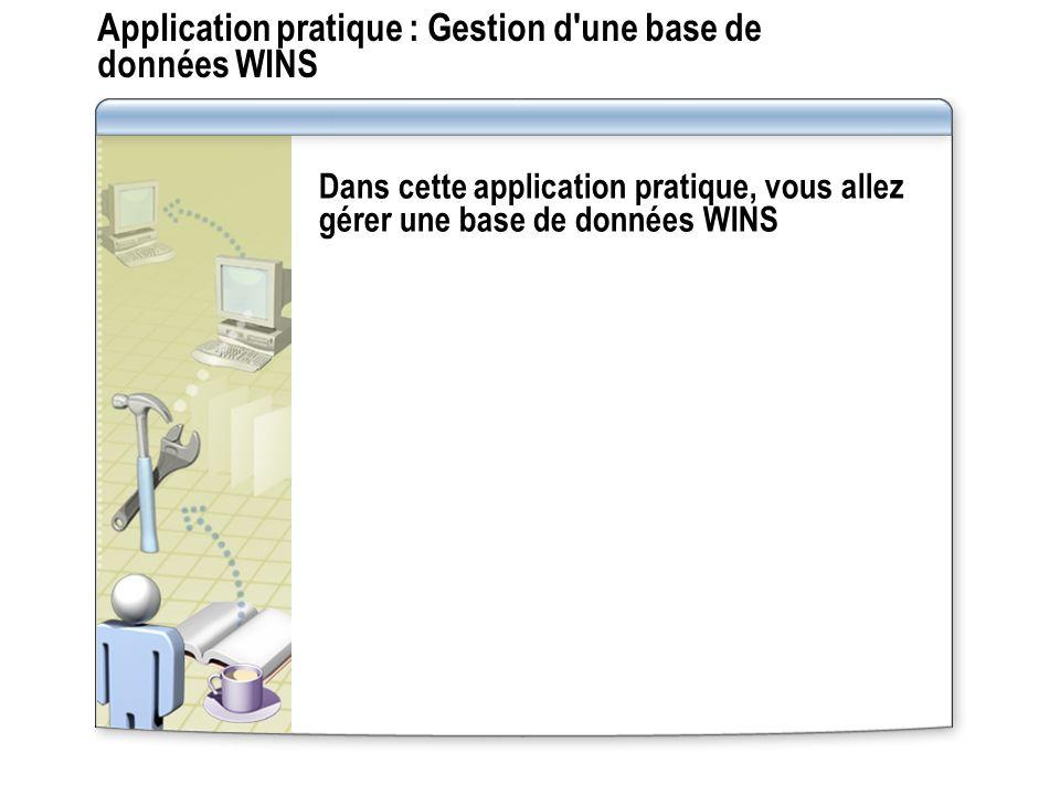Application pratique : Gestion d'une base de données WINS Dans cette application pratique, vous allez gérer une base de données WINS
