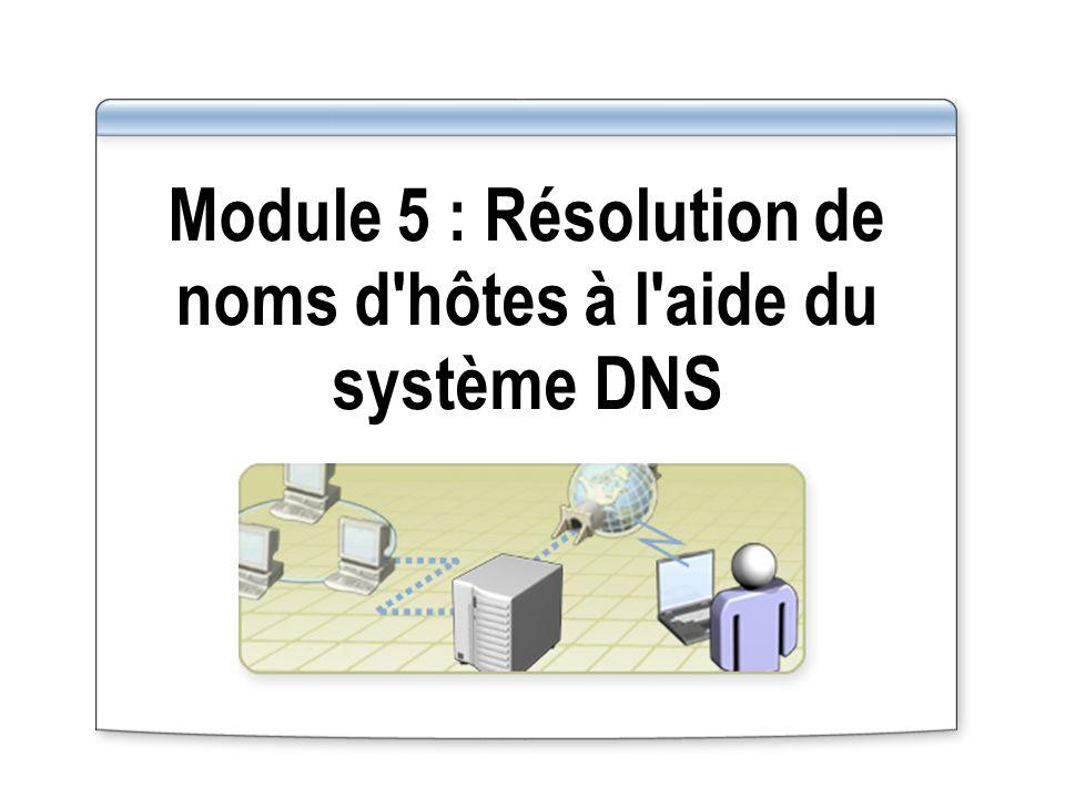Vue d ensemble Présentation multimédia : Rôle du système DNS dans l infrastructure réseau Installation du service Serveur DNS Configuration des propriétés du service Serveur DNS Configuration des zones DNS Configuration des transferts de zone DNS Configuration des mises à jour dynamiques DNS Configuration d un client DNS Délégation d autorité pour les zones