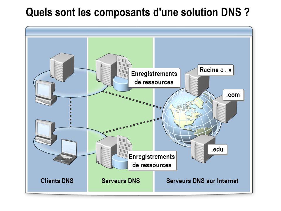 Quels sont les composants d une solution DNS .