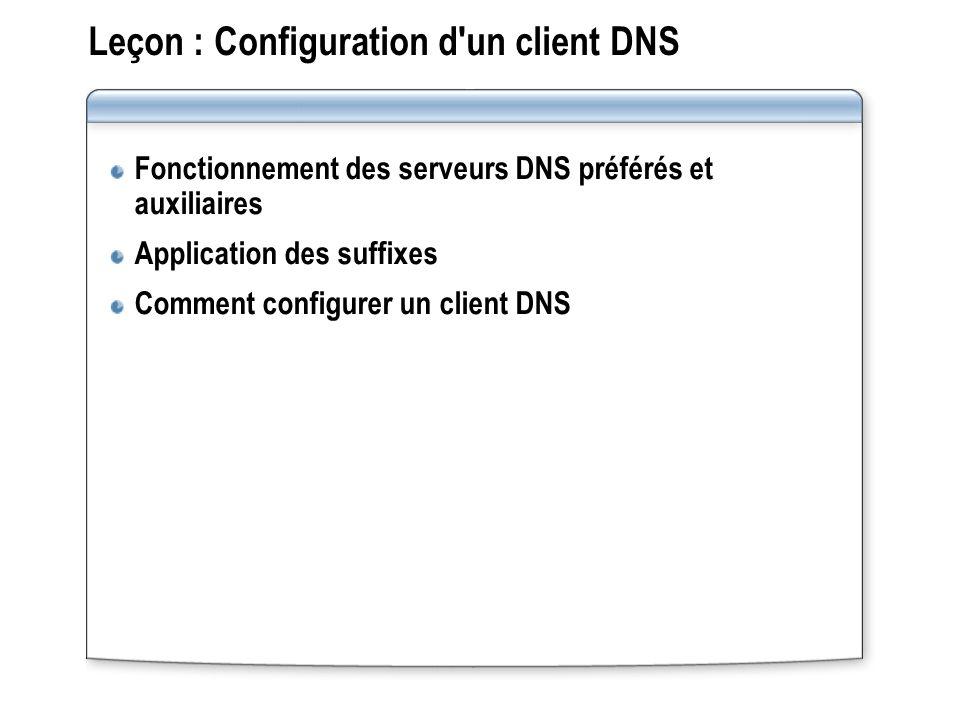 Leçon : Configuration d un client DNS Fonctionnement des serveurs DNS préférés et auxiliaires Application des suffixes Comment configurer un client DNS