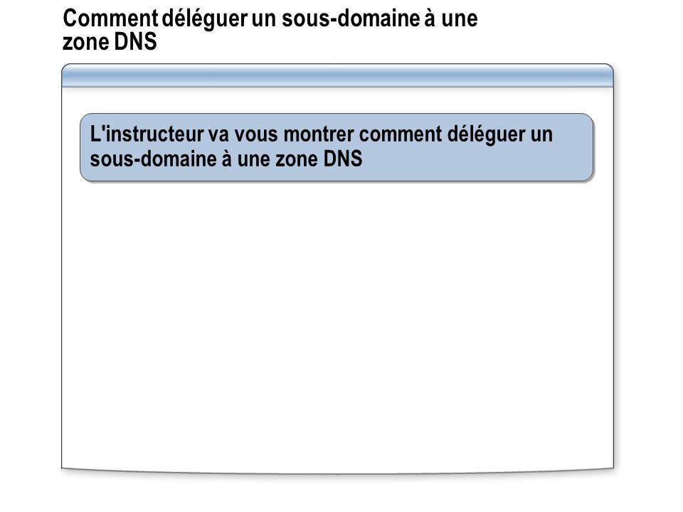 Comment déléguer un sous-domaine à une zone DNS L instructeur va vous montrer comment déléguer un sous-domaine à une zone DNS