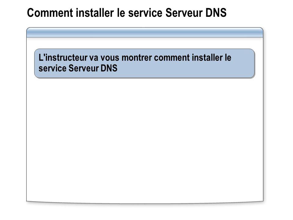Comment installer le service Serveur DNS L instructeur va vous montrer comment installer le service Serveur DNS