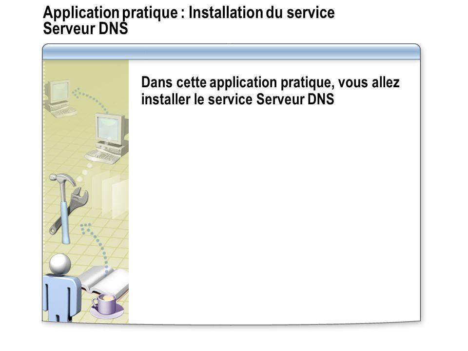 Fonctionnement des transferts de zone DNS Serveur secondaire Serveur principal et maître Requête SOA pour une zone Réponse à la requête SOA Requête IXFR ou AXFR pour une zone Réponse à la requête IXFR ou AXFR (transfert de zone) Un transfert de zone DNS est la synchronisation entre serveurs DNS des données de zone DNS faisant autorité 1 1 2 2 3 3 4 4