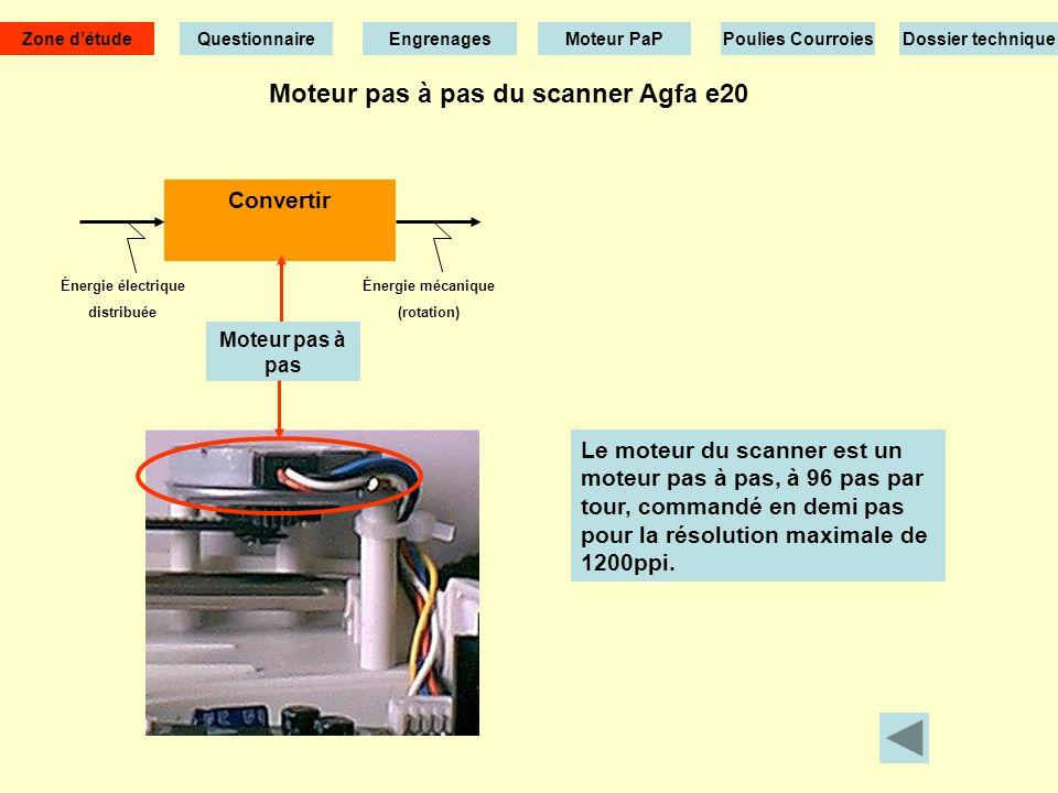 Moteur pas à pas du scanner Agfa e20 Énergie électrique distribuée Convertir Moteur pas à pas Énergie mécanique (rotation) Le moteur du scanner est un moteur pas à pas, à 96 pas par tour, commandé en demi pas pour la résolution maximale de 1200ppi.