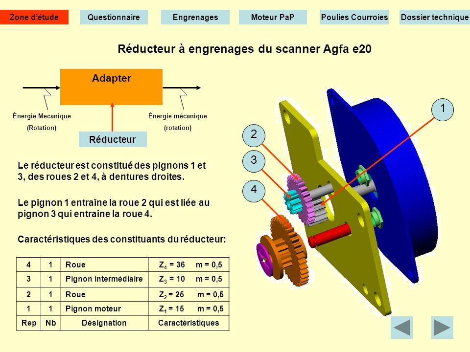 Réducteur à engrenages du scanner Agfa e20 Le réducteur est constitué des pignons 1 et 3, des roues 2 et 4, à dentures droites.