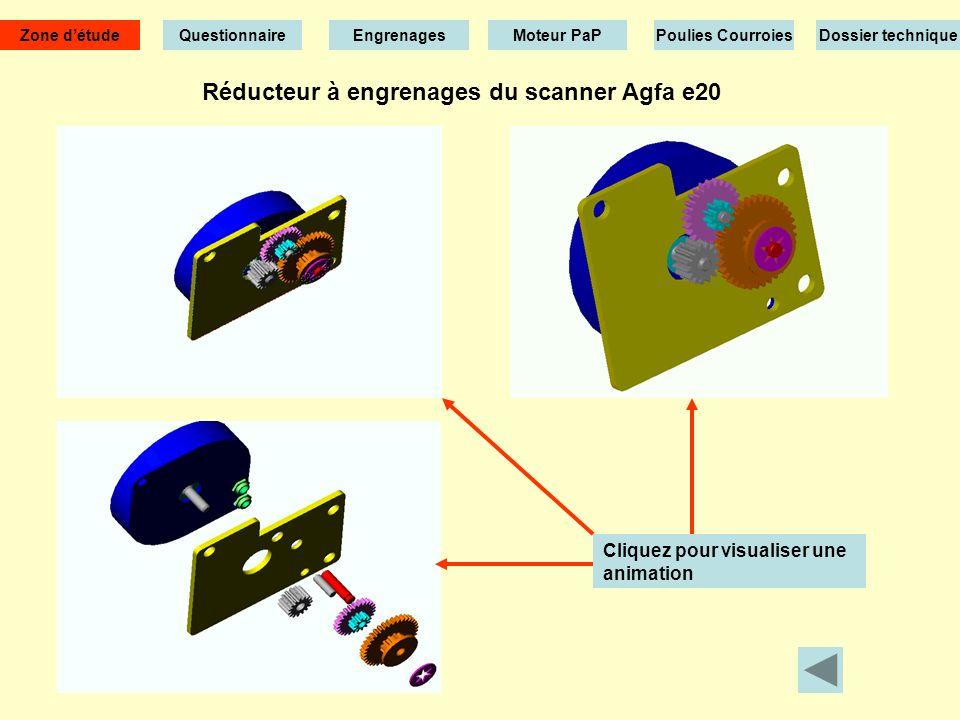 Réducteur à engrenages du scanner Agfa e20 Cliquez pour visualiser une animation Zone détude EngrenagesMoteur PaPPoulies CourroiesDossier technique Questionnaire