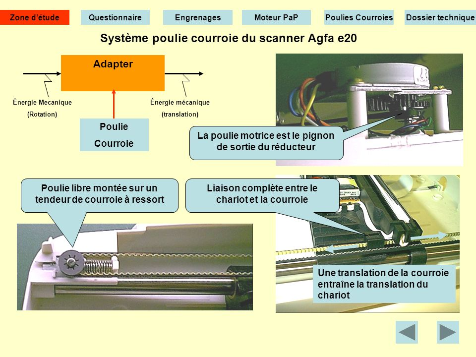 Réducteur à engrenages du scanner Agfa e20 Cliquez pour visualiser une animation Zone détude EngrenagesMoteur PaPPoulies CourroiesDossier technique Qu