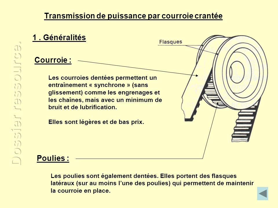 Transmission de puissance par courroie crantée Poulies : Les poulies sont également dentées. Elles portent des flasques latéraux (sur au moins lune de