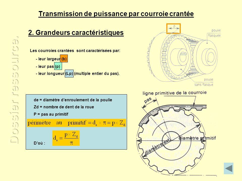 Transmission de puissance par courroie crantée 2. Grandeurs caractéristiques - leur pas (p) - leur longueur (Lp) (multiple entier du pas). Les courroi